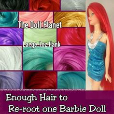 ebay - TheDollPlanet - 1oz Hank Color Nylon Hair for Rerooting Barbie and Fashion Royalty Dolls - Enough Hair to reroot one Barbie Doll / ebay