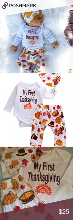 """THANKSGIVING OUTFIT (get in time for THANKSGIVING) Three piece cotton outfit. HAT ONSIE AND PANTS.   IT SAYS """"my first thanksgiving"""". Last pic shows a small dot on material from manufacturing.  I doubt it will be noticeable once a beautiful baby is in it!  Girl or boy. 3-6 months Matching Sets"""