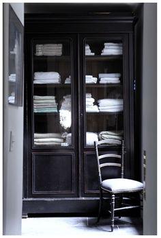 Black cabinet for linens