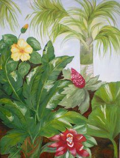Tropical garden-acrylic on canvas