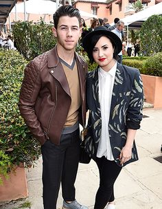 Longtime friends Nick Jonas and Demi Lovato attended the Roc Nation pre-Grammys brunch on Saturday, Feb. 7 in Beverly Hills.