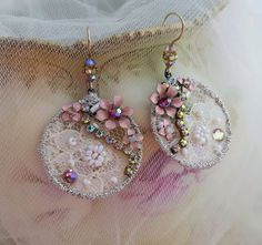 Romance lace earrings Swarovski crystals bead embroidery lace jewelry hand beaded textile jewelry round dangle earrings shabby chic wedding