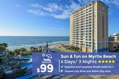 Westgate myrtle beach oceanfront resort - book your beach vacation! Vacation Deals, Vacation Resorts, Beach Resorts, Vacation Trips, Travel Deals, Vacation Club, Beach Vacation Packages, Myrtle Beach Vacation, Affordable Vacations