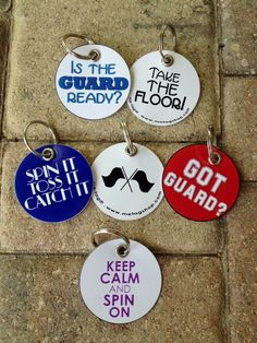 Colorguard inspired bag tags! What's your favorite GUARD saying? We can make a bag tag for that! at www.metagshop.com