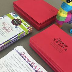 INVITATION STUFFING TONIGHT!!!! Coming to a mailbox near you soon!  #summersalsa #eoach #rsvp #childrenshouse #forthekids #supportlocal #partywithapurpose #donkeynotincluded #peteythepinata