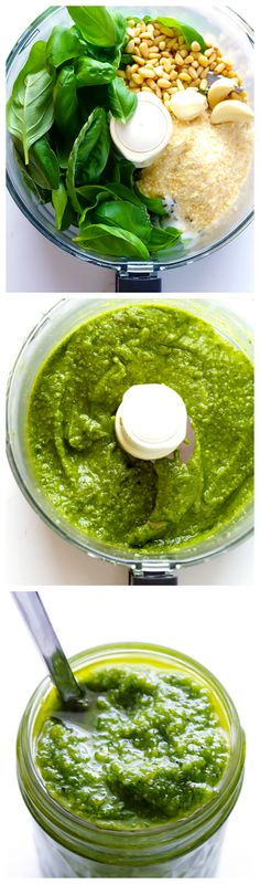 Homemade Pesto -- a simple step-by-step guide to making classic basil pesto. Finally make my own pesto. Italian Recipes, New Recipes, Vegetarian Recipes, Cooking Recipes, Favorite Recipes, Healthy Recipes, Sauce Recipes, Italian Foods, How To Make Pesto