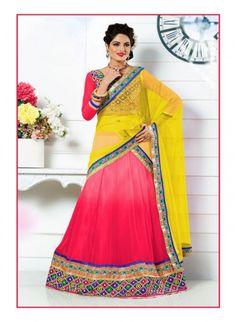 Dazzling Diva Red Color Chiffon Based #Lehenga Choli #bridallehengas #ethnicwear #womenapparel #womendresse