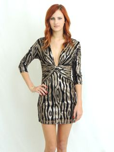 Meet Me At Midnight Sequin Dress (Gold and Black) from Daily Chic - $45.00