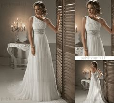 New White/Ivory Chiffon Wedding Dress Party Prom Gown Size 6-8-10-12-14-16