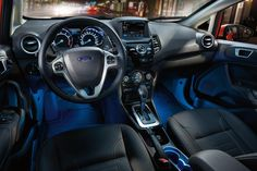 2018 Ford Fiesta Titanium interior with leather trimmed seats and ambient lighting Salesman Humor, Car Salesman, Sienna Van, Used Cars Online, Car Buying Tips, 2019 Ford, Cars For Sale, Honda, Photo Galleries