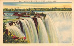 Vintage Terrapin Point from Goat Isle, Niagara Falls Linen Postcard Posted 1942
