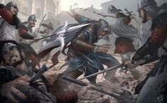 Assassins Creed Revelations by Patrick Brown! Amazing work! As you can see here we have our main man Ezio Auditore da Firenze in the middle fighting off a bunch of guards, One guy has taken a blade to the throat while another gets a throwing knife delivered to his chest. All while Ezio dodges a spear that just misses him