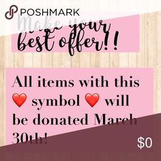 Sale items = ❤ Hurry while supplies last - Except all reasonable offers items that have not found a home will be donated at the end of the month Accessories