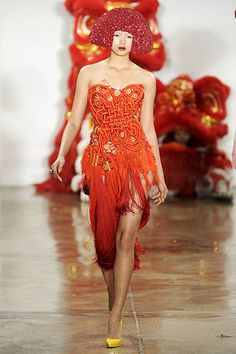 Giant tassel dress--coral, red and gold