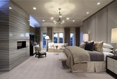 Transitional Master Bedroom with Carpet, Chandelier