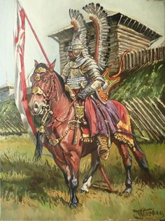 "Polish Winged Hussar; ""Guard"" oil painting by Yaroslav Stroyny; Poland"