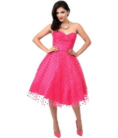 Iconic by UV 1950s Hot Pink Swiss Dot Dandridge Strapless Swing Dress