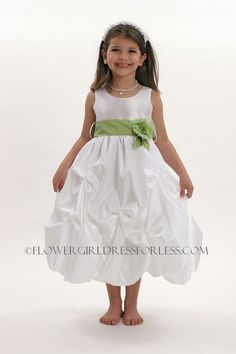 Flower Girl Dress Style CA_D599- White or Ivory Dress with Choice of 25 Sash and Flower Options $39.99
