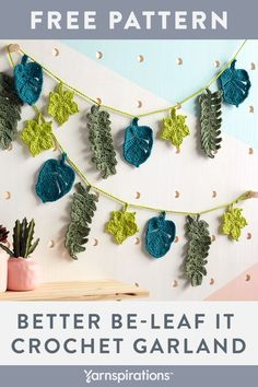 Yarnspirations is the spot to find countless free intermediate crochet patterns, including the Lily Sugar'n Cream Better Be-Left It Crochet Garland. Crochet Leaf Free Pattern, Crochet Flower Tutorial, Crochet Leaves, Crochet Motif, Crochet Flowers, Crochet Patterns, Crochet Bunting Pattern, Mode Crochet, Crochet Home