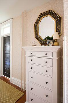 White Dresser from Joss & Main, Black Octagonal Mirror from South Loop Loft, Runner Rug from Dash & Albert, Tourbillon Wallpaper by Farrow & Ball | Making it Lovely, One Room Challenge