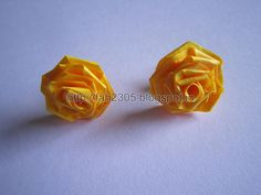 Handmade Jewelry - Paper Rose Earrings (Yellow) (1) by fah2305, via Flickr