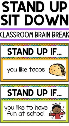 Stand Up Sit Down Classroom Brain Break Classroom Brain Break Physical Activities For Kids, Physical Education, Elderly Activities, Dementia Activities, Music Education, Health Education, Beginning Of The School Year, Last Day Of School, Middle School