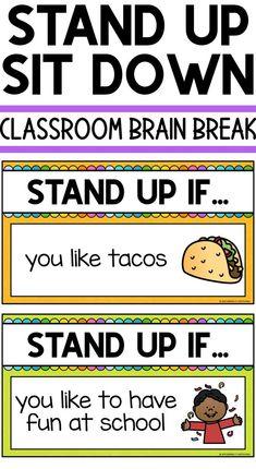 Stand Up Sit Down Classroom Brain Break Classroom Brain Break Physical Activities For Kids, Physical Education, Elderly Activities, Dementia Activities, Music Education, Health Education, Kindergarten Classroom, Classroom Activities, Brain Breaks For Kindergarten