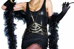Black flapper dress with sophisticated art deco styling. Sequins on the front of bodice & a layered fringe bottom that continues in back. Headband and cigarette holder are included. $38.53