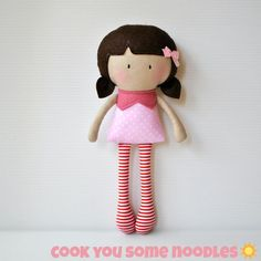 """My Teeny-Tiny Doll® is great for the little ones' play and development. Rosy is just the right size for tiny little hands. Also great to throw in the bag for your daily outing and taken out for the littlie to play with. Rosy stands at 11""""/28cm tall and is made from cotton fabrics, wool blend felt and is filled with polyfill for softness."""