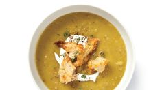 If you want to make this split pea soup but you don't have a ham bone, use two ham hocks instead.
