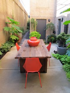 Making the most of a small garden opportunity. Rustic dining table with modern red / orange chairs; planting in narrow perimeter planters. Courtyard.