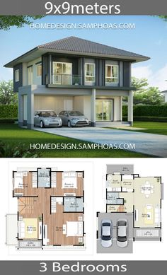 Two Story House Design, 2 Storey House Design, Bungalow House Design, Small House Design, Modern House Design, House Plans With Photos, New House Plans, Dream House Plans, Small House Plans