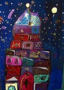 Funkelnde Weihnachtstadt 1.-3- Klassen, Selbst gebastelter Weihnachtskalender aus Fotokarton in A2.