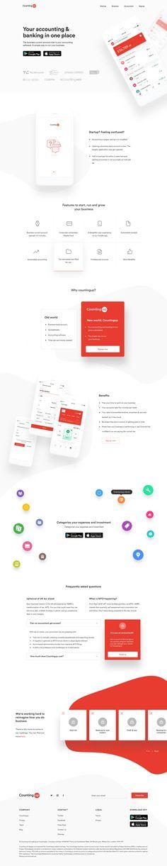 landing_page_countingup.png by Divan Raj Webdesign Inspiration, Best Ui Design, App Design, Flat Design, Web Layout, Layout Design, Web 2.0, Website Design Company, Ui Design