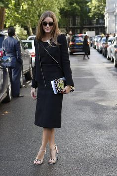 Olivia Palermo Street Style at LFW S'14. Photo by Anthea Simms / black jacket / black skirt