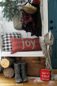Our Rustic Cottage Christmas Tour 2015 - The Wicker House Christmas Entryway, Cottage Christmas, Christmas Porch, Farmhouse Christmas Decor, Plaid Christmas, Country Christmas, Winter Christmas, Christmas Crafts, Christmas Decorations