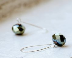 Sample Sale - Parrot Green Glass Earrings. $12,00, via Etsy.
