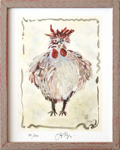 "Framed version of ""The Cock"" signed, limited edition fine art print of the original painting by Jacques Pepin. Available framed and unframed."