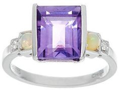 Jane Taylor Sterling Silver Emerald Cut Gemstone Ring