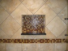 45 degree tiles above the accent band with inset niche