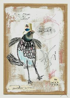 Mixed media collage on paper, I'm Puttin' on my Top Hat.....COLETTE COPELAND STUDIO