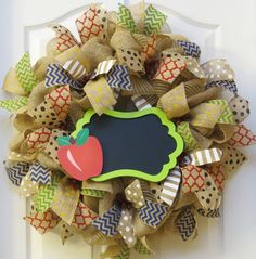 Teacher Wreath, back to school wreath, Chalkboard Wreath, Classroom Wreath, Celebration Wreath, Deco Mesh Wreath,  Burlap Apple Wreath - pinned by pin4etsy.com