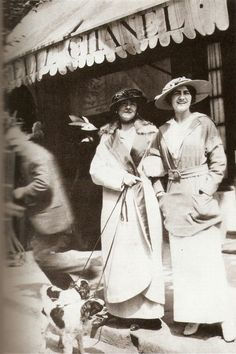 mimbeau:  Coco Chanel in front of her shop  at Deauville circa 1910 (unknown)
