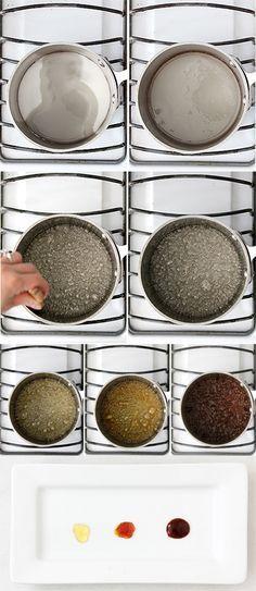 Paso a paso como se hace un caramelo y los tipos de colores que se pueden obtener:ligero,medio y oscuro.
