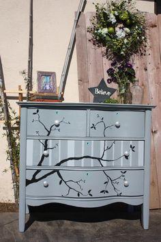 Gray, Striped, Tree Branch, Antique Dresser