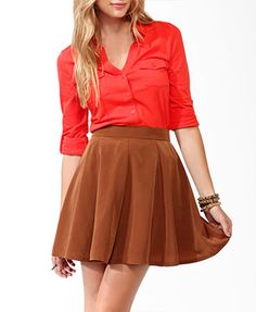 Cute colour & looks cute tucked into a skirt!   Fitted Knit Shirt | FOREVER21 - 2043140156