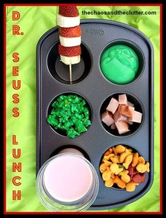 Seuss Muffin Tin lunch Need to start looking for small muffin tins would be a cute school lunch too. Pistachio Pudding, Baked Strawberries, Dark Chocolate Cakes, Sweet Potato Soup, Muffin Tins, Fried Chicken, Pumpkin Spice, Kids Meals