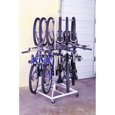 What I actually own for storing bikes in my apt. It only takes up a 3 ft square footprint in my little studio and rolls around when I need to get it out of the way for guests.
