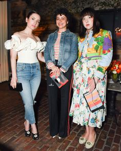Zoe Lister-Jones in a Brock Collection top and Citizens of Humanity jeans; Alia Shawkat in AG and Marco de Vincenzo; and Alia Penner