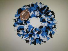 Carolina Panthers Rag Wreath by ninnyboo on Etsy, $25.00